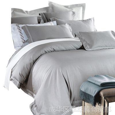 60支贡缎长绒棉美式床单四件套1.8m床全棉纯棉被套纯色笠床上用品
