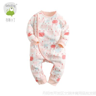 纯棉衣服秋装连体衣春秋男女宝宝长袖哈衣婴儿睡衣爬爬服