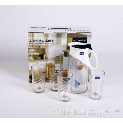 冷水壶 玻璃企鹅杯五件套水具套装玻璃杯厂家直销冷水壶套装logo