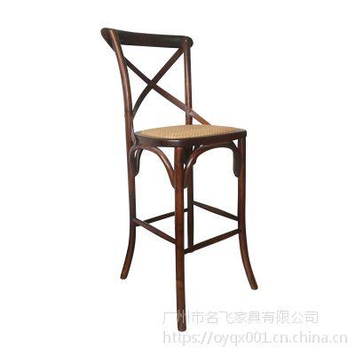 美式叉背高脚椅 椰子鸡餐厅座椅 胡桃里音乐吧西餐馆实木餐椅XS02