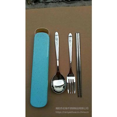 韩式304不锈钢餐具套装、304不锈钢筷子叉勺厂家、户外便携餐具