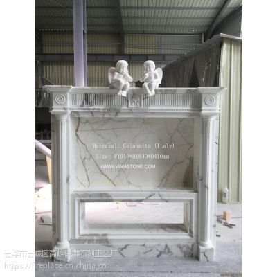 意大利进口雪花白大理石手工雕刻壁炉架(别墅电视背景墙)