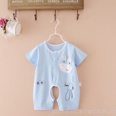 jSH女孩月女宝宝连体衣服3-6夏季婴儿一个0-1岁夏天开档满月男孩