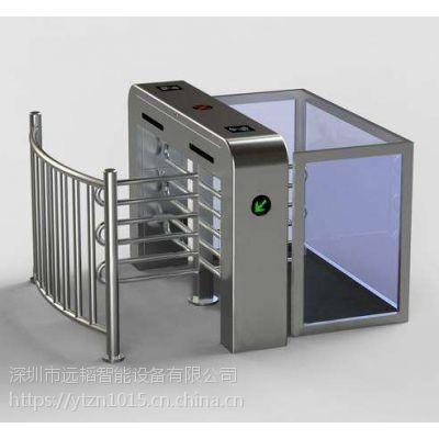 商场/车站 超市半高闸不锈钢电动手动十字式旋转闸门外加护栏