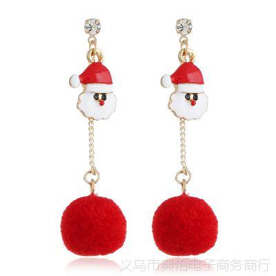 MERRY CHRISTMAS 圣诞老人头红色毛球流苏耳环圣诞晶沁直销批发