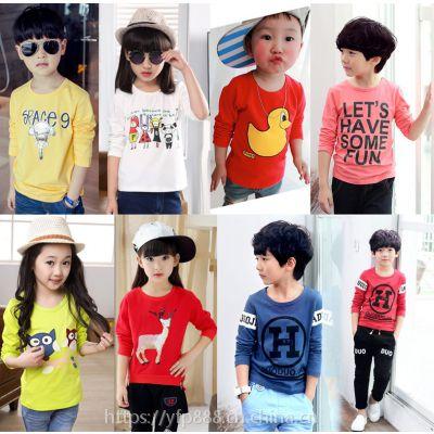 厂家生产批发童装服装儿童长袖t恤男童卡通女童印花T恤中小童爆款