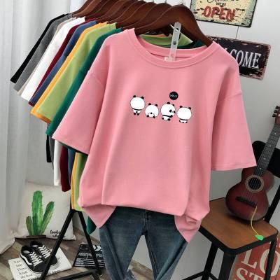 2019新款短袖女 便宜韩版中长款短袖T恤批发 小衫 半袖货源厂