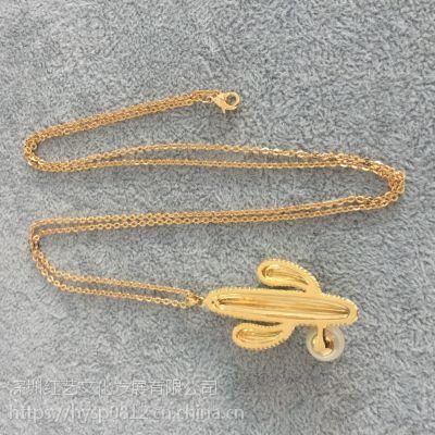 个性仙人掌珍珠装饰女士毛衣链中高端女装饰品设计定制批发