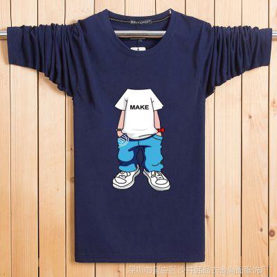 新款特价纯棉男长袖宽松胖子t恤秋季大码男装秋衣上衣青年T恤