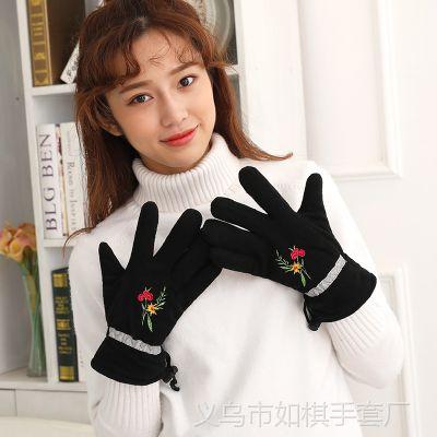 厂家直销新款女士双层加厚骑行摇粒绒手套时尚绣花保暖抓绒手套