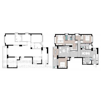山水装饰集团玫瑰园170平方现代风格方案报价效果图分享