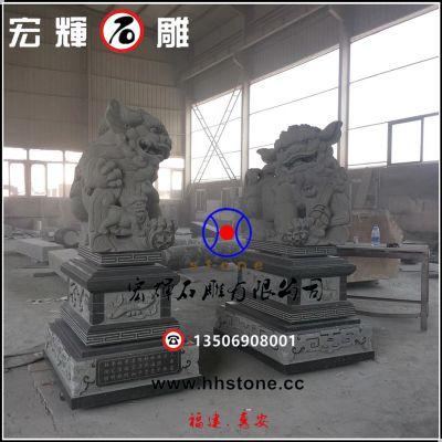 惠安工艺石狮子(青石献钱狮)含座2.1米高