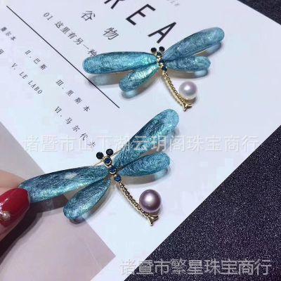 蓝蜻蜓淡水珍珠胸针送女朋友生日礼物爆款新品水晶镶嵌饰品