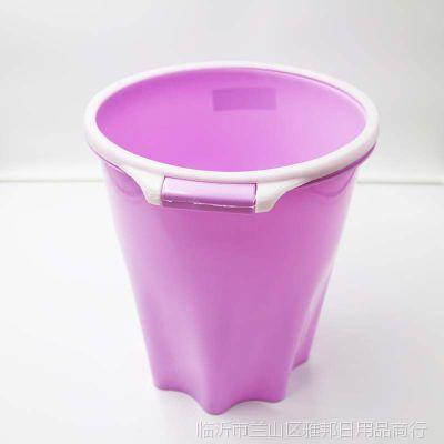 塑料压圈塑料圆形垃圾桶 家用办公用纸篓 欧式创意环保八角圆桶