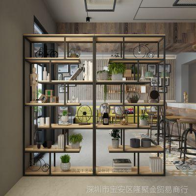 美式铁艺实木屏风办公室隔断工业风展示架储物柜书架隔板置物架