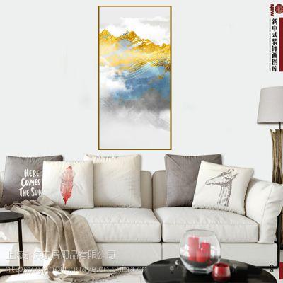 现代简约卧室挂画新中式意境金色山水装饰画