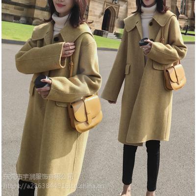 杭州厂家年底清货便宜女式毛呢外套中长款呢子大衣便宜羊绒大衣清货低价亏本处理