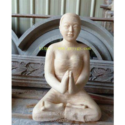 景观雕塑小品圆雕砂岩雕像泰式少女半跪雕塑东南亚风格女神手托盘
