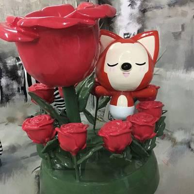 户外公园草地商场美陈仿真玫瑰花玻璃钢雕塑 厂家直销玻璃钢仿真大型玫瑰花雕塑