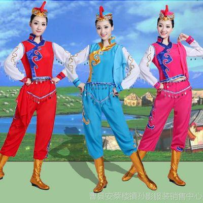 蒙古服装女成人新款蒙古舞蹈演出服打鼓骑马舞衣服族女少数民族舞
