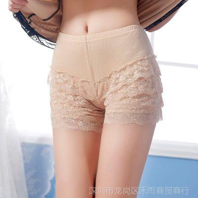防走光女夏裤大码保险裤 黑色蕾丝边女士中腰四角平角内裤