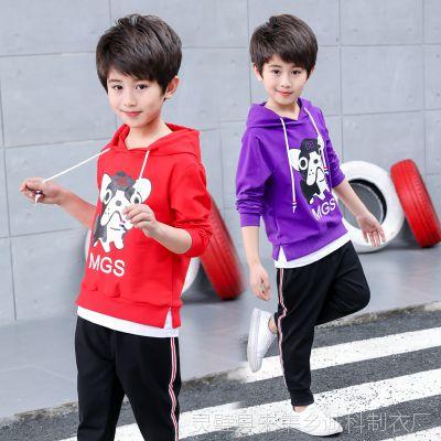 新款男童秋款2018新款儿童童装 一件待发两件套纯棉韩版男童套装