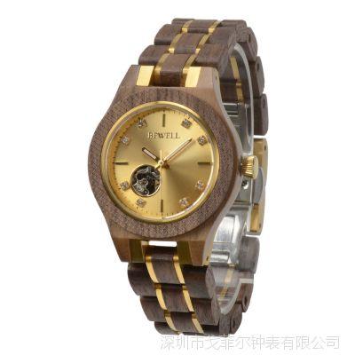 BEWELL品牌新款女士手表外贸爆款时尚镂空钢间木机械手表定制批发