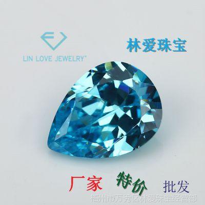 林爱珠宝 梧州人造宝石厂家批发 梨形 水滴形海蓝色 高仿仿蓝宝石