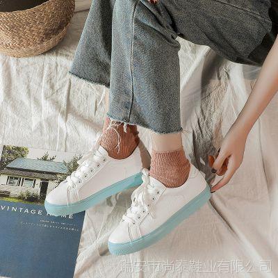 2018秋款韩版小白鞋女 chic超纤女鞋 拼色休闲单鞋子板鞋一件代发