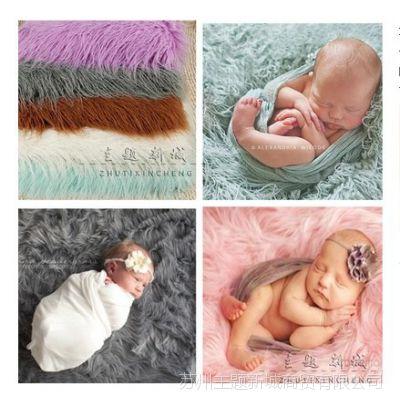 新生儿背景毯子欧式长毛毯水蓝紫色白色满月宝宝拍照毯子百天毛毯