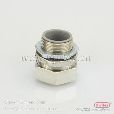 深圳黄铜镀镍穿线管接头 包塑金属软管连接器
