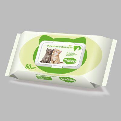 厂家定制植物配方抗菌消毒除臭宠物湿巾