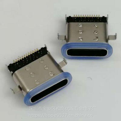 沉板式TYPE-C防水母座 24P/沉板1.1/四脚插板/DIP+SMT/带胶圈/双包壳/3.1插座