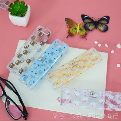 389韩国可爱儿童塑料透明近视眼镜盒卡通小清晰创意女太阳墨镜盒