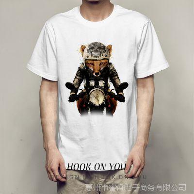 狐狸摩托车Chic2018女装T恤hiphop欧美高街个性男女莫代尔打底T恤