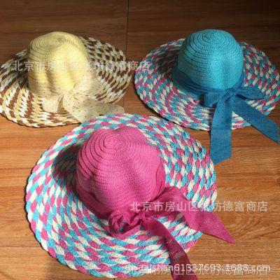 防紫外线帽子 韩版沙滩帽大沿帽 夏天蝴蝶结圆顶遮阳帽草帽旅游帽
