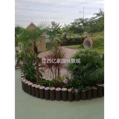 吉安上饶亿豪围栏水泥仿木树桩定制 混凝土仿木树桩石围栏安装