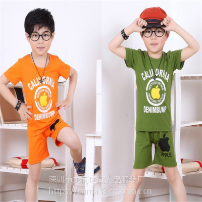 夏季新款韩版儿童套装 男童女童短袖T恤两件套 赶集地摊货源厂家批发
