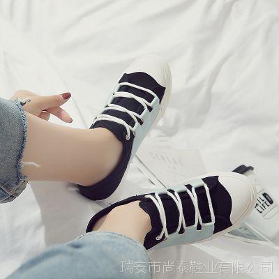 尚泰2018春秋日系透气女鞋皮布拼接休闲穿搭舒适低帮单鞋一件代发