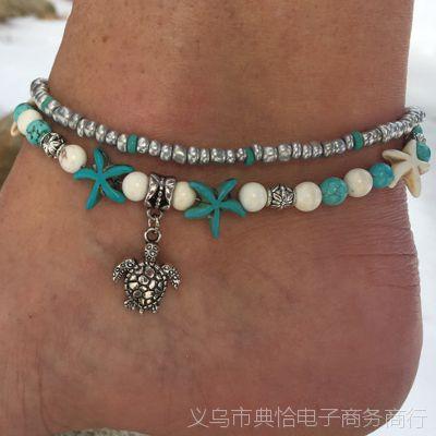 欧美沙滩吊坠海星珍珠复古乌龟脚链 海螺米珠瑜伽脚链海龟手链