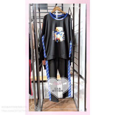 大码运动套装【石头鱼】低价走份批发/广州品牌折扣女装