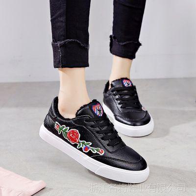 名将冬季小白鞋女加绒保暖棉鞋韩版帆布鞋学生平底休闲板鞋街拍鞋