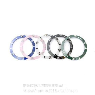 供应东莞鸿图水鬼陶瓷圈定制手表配件陶瓷圈外直径38mm