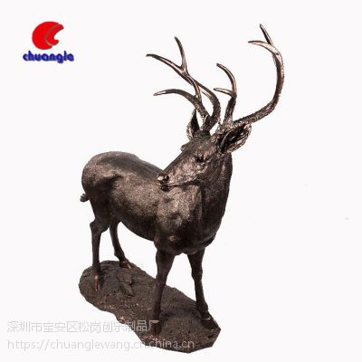 树脂复古金色鹿 高档家居饰品摆件北欧工艺品
