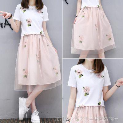 初中学生少女吊带连衣裙2018夏季套装短袖小碎花中学生两件套裙