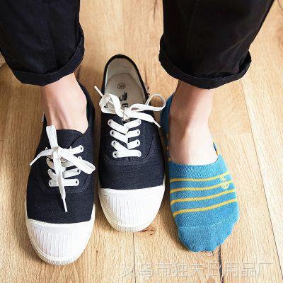 春夏条纹徽章刺绣短袜船袜男士纯棉隐形袜浅口袜子低帮吸汗防滑