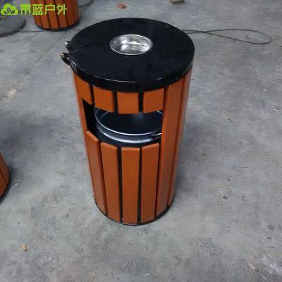 青蓝厂家供应圆形上开盖木条果皮箱 配镀锌板内胆 广场果壳箱 美观实用