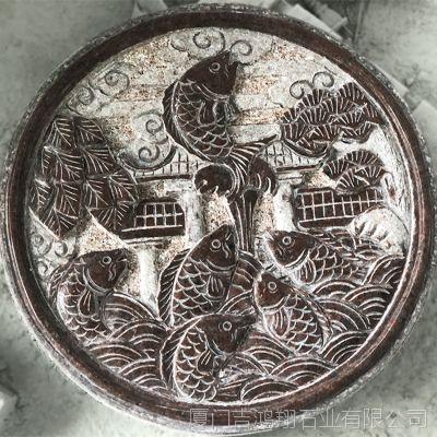 惠安石雕厂直销 圆形浮雕 印度红石雕浮雕 户外园林庭院古建圆雕