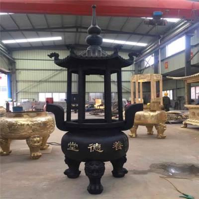 正圆寺庙大型铸铜圆形香炉厂家,黄铜铸造圆形宝鼎生产厂家