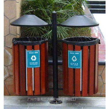 厂家定制钢架构实木垃圾桶 户外果皮箱 塑料分类垃圾桶